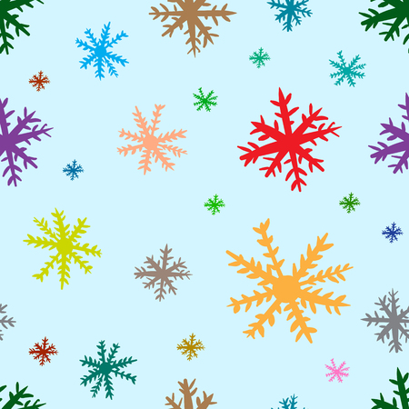 negligent: Seamless texture with multi-colored negligent snowflakes on the blue Illustration
