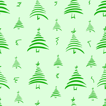 firtrees: Seamless texture with green fir-trees and curls