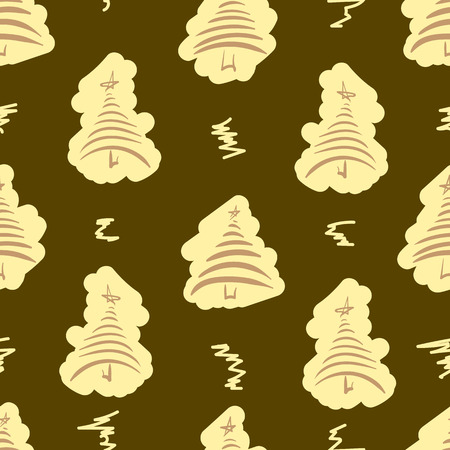 curls: Seamless texture with brown fir-trees and curls Illustration