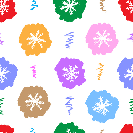 negligent: Seamless texture with multi-colored negligent snowflakes on the white