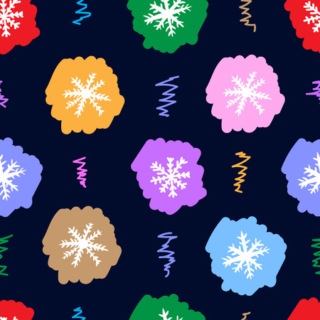 negligent: Seamless texture with multi-colored negligent snowflakes on the black