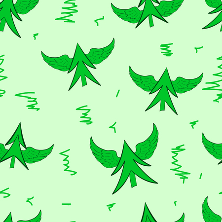 winged: Seamless texture with green winged fir-trees on the green