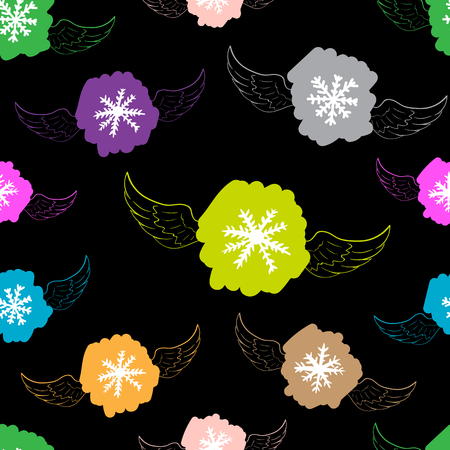 negligent: Seamless texture with color winged snowflakes on the black