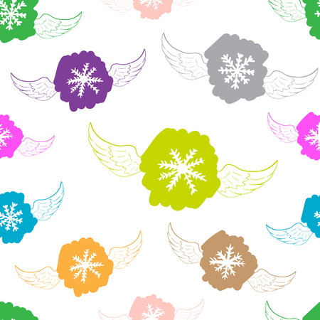 negligent: Seamless texture with color winged snowflakes on the white
