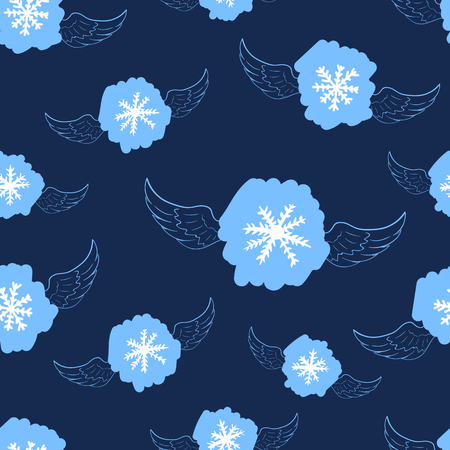 winged: Seamless texture with blue winged snowflakes on the blue