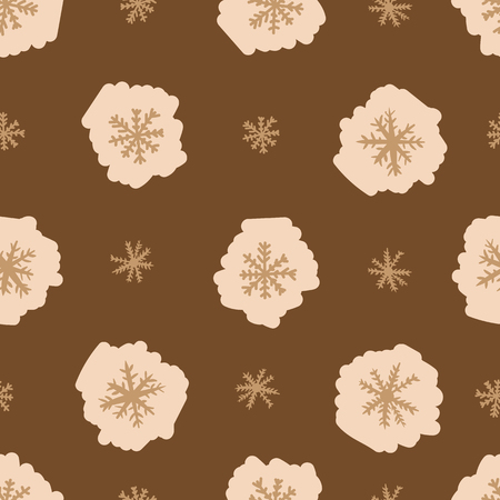 negligent: Seamless texture with brown negligent snowflakes on the brown