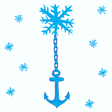 negligent: Conceptual illustration with a snowflake with an anchor
