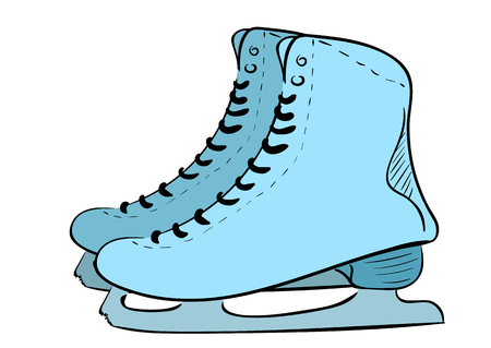Illustration with blue sketches of the skates Illustration