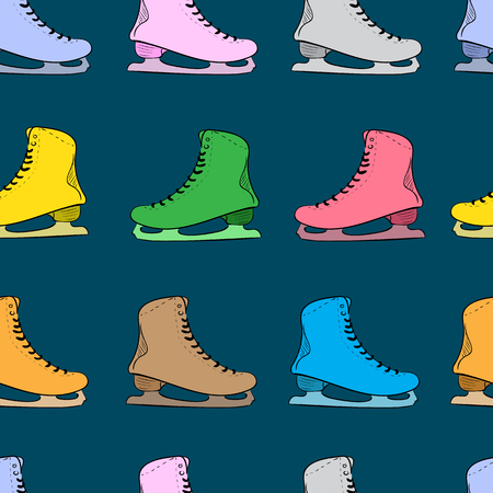 figureskating: Seamless texture with the color skates on the blue Illustration