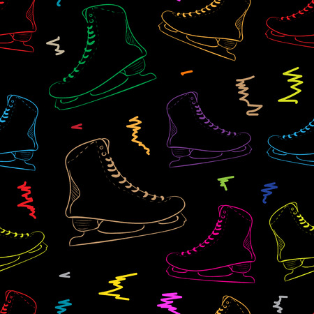 contours: Seamless texture with the color skates contours and curve curls Illustration