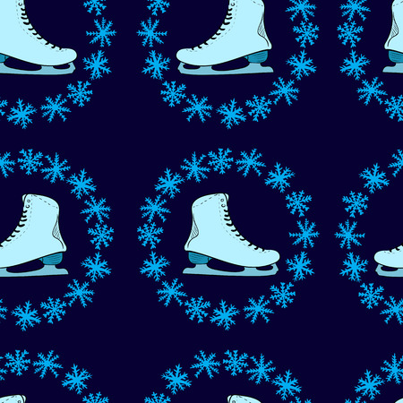 figureskating: Seamless texture with the blue skates in a snow round Illustration