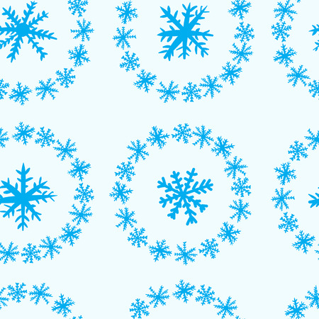 negligent: Seamless texture with a snowflake round snow Illustration
