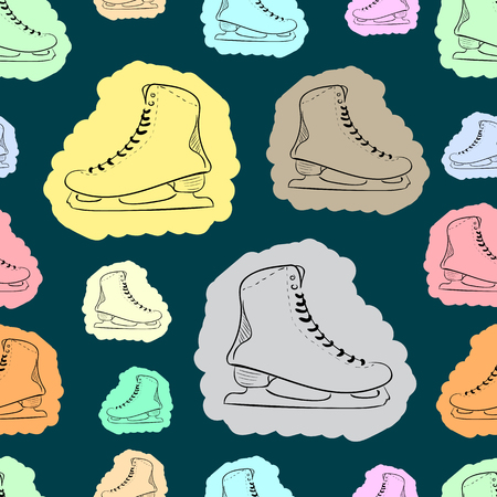 figureskating: Seamless texture with the multi-colored painted contours of the skates