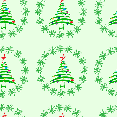 firtrees: Seamless texture with festive Christmas fir-trees in snow
