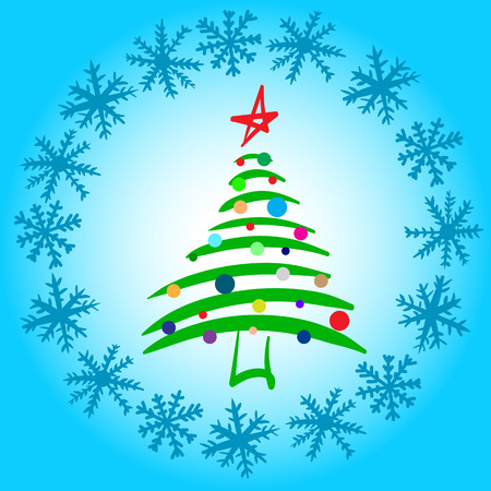 decorated christmas tree: Conceptual illustration with the decorated Christmas tree in a circle of snowflakes