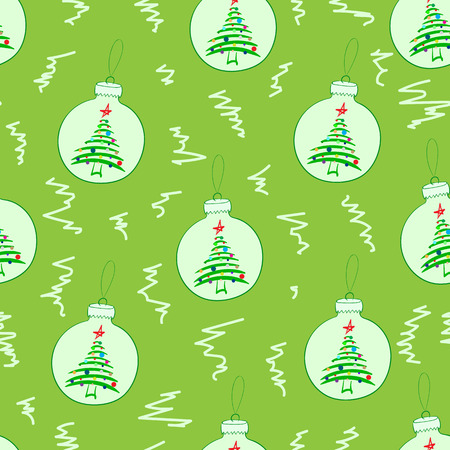 firtrees: Seamless texture with Christmas balls with fir-trees Illustration