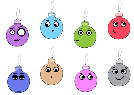 dissatisfied: Conceptual illustration with emotional various Christmas balls