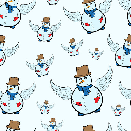 winged: Seamless texture with winged color conceptual snowmen Illustration
