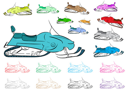 contours: Clipart with multi-colored snowmobiles and color contours Illustration