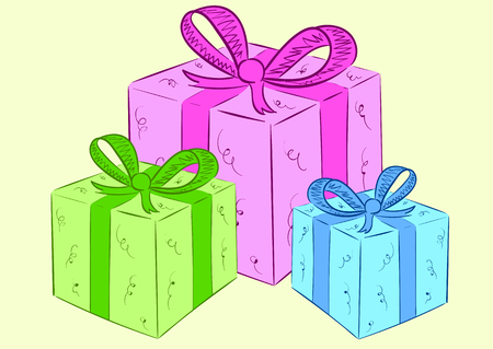 packing tape: Three festive gift packings of different flowers Illustration