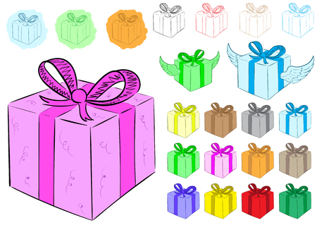 contours: Clipart with color winged gift boxes and contours