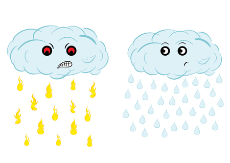 puzzled: Spiteful and puzzled cloud with the rain from fire