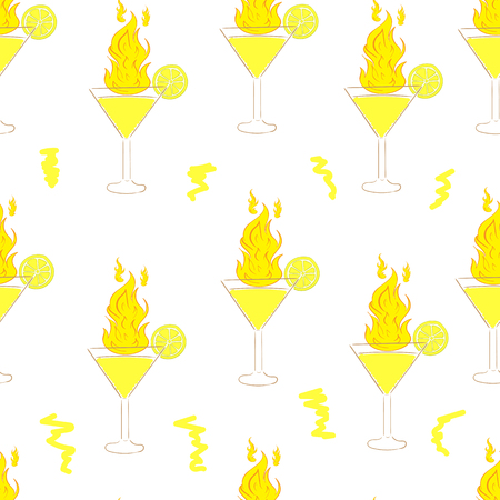 Seamless texture with fiery cocktails with a lemon Illustration