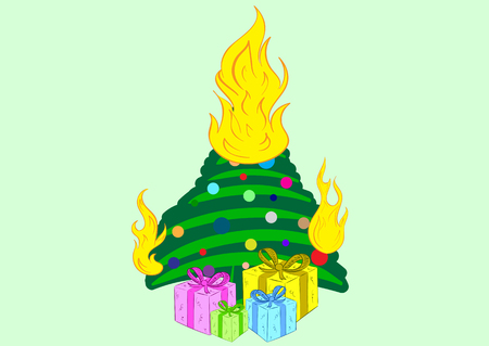 gift accident: Conceptual illustration with the burning Christmas tree with gifts