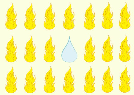 flaring: Water drop on fire not such as all Illustration