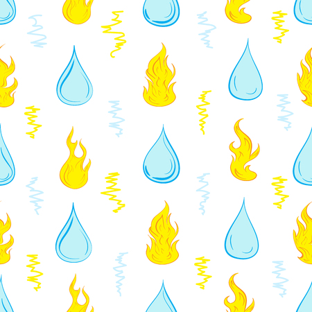 damp: Seamless texture with water drops and fire Illustration