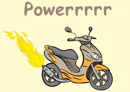 Conceptual illustration with the powerful fiery scooter Illustration