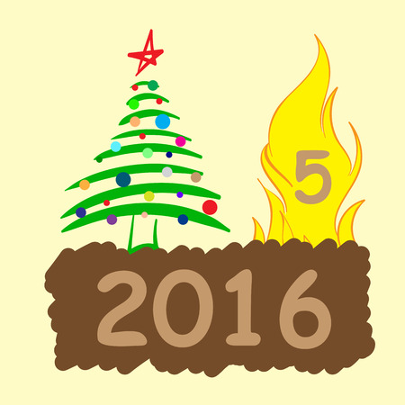 New Years conceptual illustration with the burning figure and a fir-tree