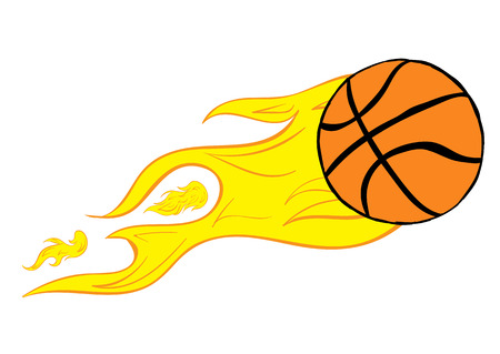 basketball ball in fire: Conceptual illustration the basketball burning from speed