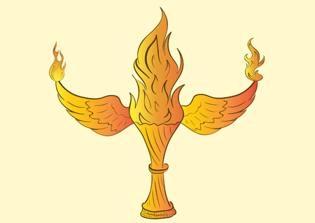 ignited: Conceptual illustration with winged fire an award Illustration