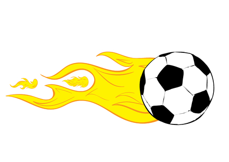 soccerball: Conceptual illustration the soccerball burning from speed