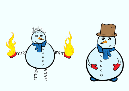 usual: Snowman on springs with fire and the usual scared snowman