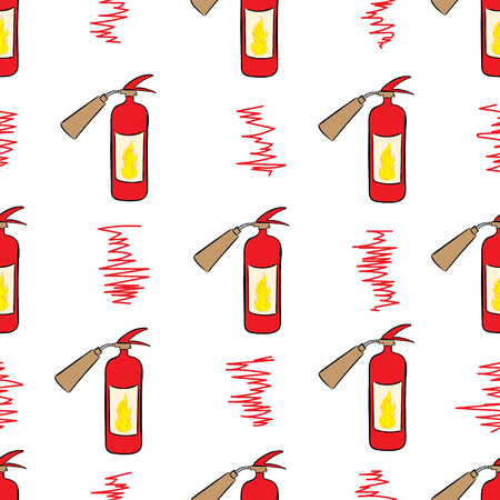 Seamless texture with red sketches of fire extinguishers Illustration