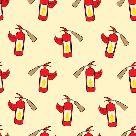 extinguishers: Seamless texture with winged red fire extinguishers