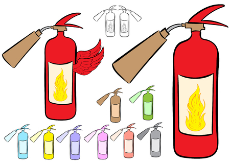 fire extinguishers: Clipart with multi-colored color winged fire extinguishers