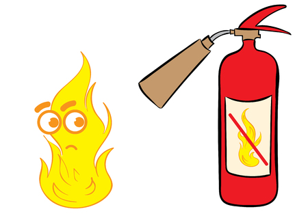 dissatisfied: Conceptual illustration with dissatisfied fire near the extinguisher
