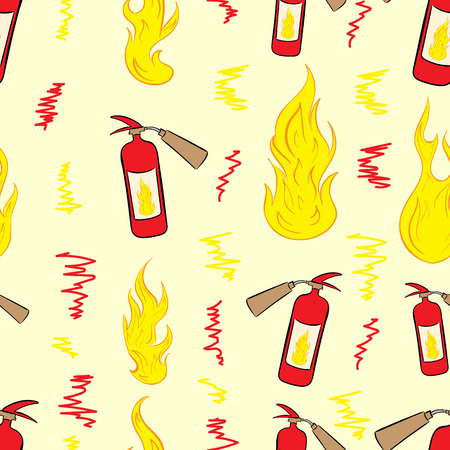 Seamless texture with fire and red extinguishers