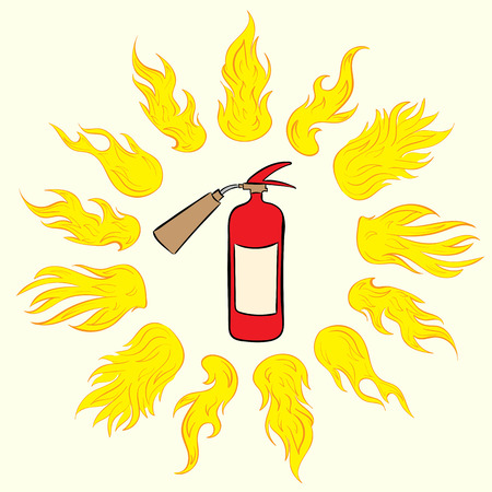 ardent: The red fire extinguisher in a circle of hot ardent fire