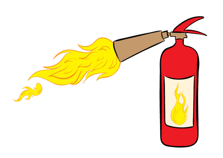 malfunction: The red fire extinguisher which is letting out a flame