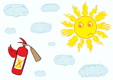 dissatisfied: Landscape with the dissatisfied sun and the flying fire extinguisher Illustration