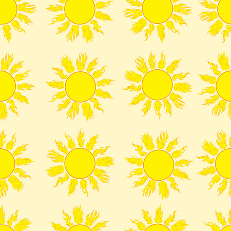 scorching: Seamless texture with the yellow sun with beams Illustration