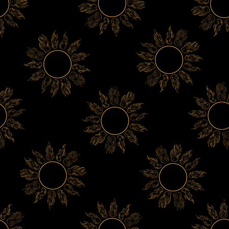 scorching: Seamless texture with yellow contours of the sun on the black