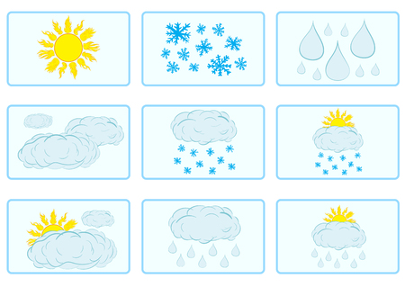 weather forecast: Signs for a weather forecast with the sun and clouds