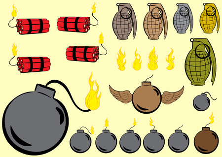 explosives: Set with various explosives, dynamite, the grenade, a bomb Illustration