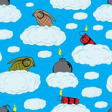 bombs: Seamless texture with bombs, dynamites and grenades on clouds Illustration