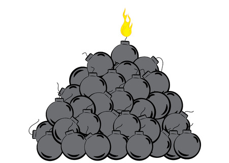 bombs: Wick on fire and a heap of bombs Illustration